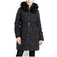 Wallis - Black fur hood parka coat