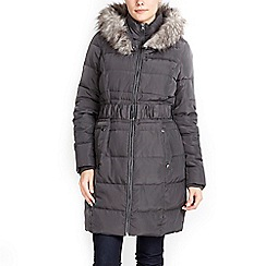 Wallis - Grey fur hood parka coat