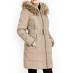 Wallis - Tan glam fur hood parka coat