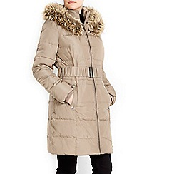 Wallis - Brown faux fur hood parka