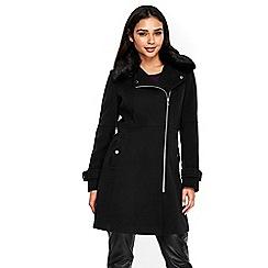Wallis - Black faux fur collar longline biker coat