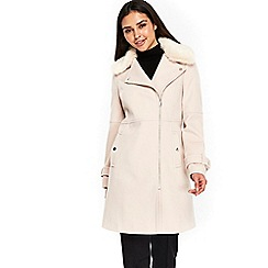 Wallis - Nude fur collar twill biker coat