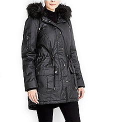 Wallis - Black wax cotton parka coat