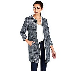 Wallis - Black collarless textured coat