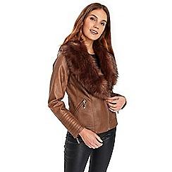 Wallis - Tan faux fur biker jacket