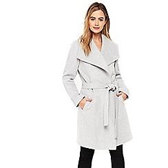 Wallis - Grey drawn wrap belted coat