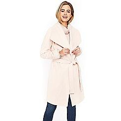 Wallis - Pale pink drawn wrap belted coat