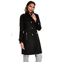 Wallis - Black hourglass faux wool coat