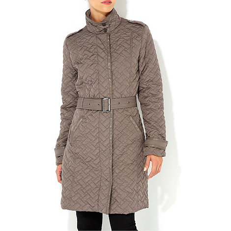 Wallis - Mocha padded mid length coat