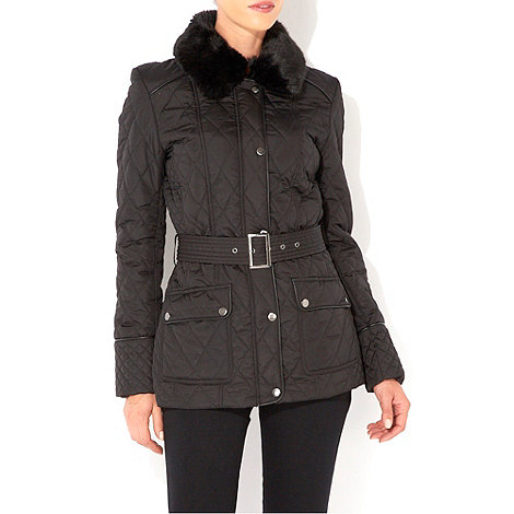 Wallis - Black faux fur quilted jacket