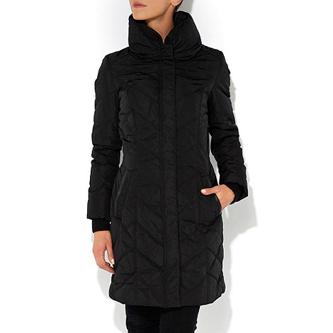 Wallis - Black rouch collar padded coat