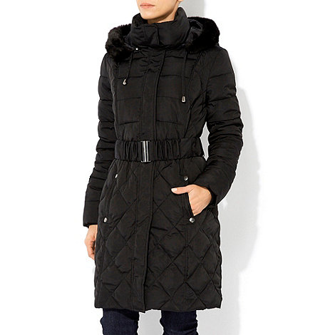 Wallis - Black faux fur hooded coat