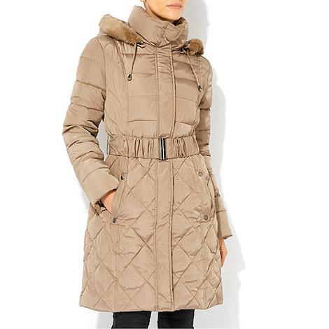 Wallis - Stone faux fur hooded coat
