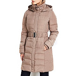 Wallis - Stone buckle padded faux fur trimmed coat