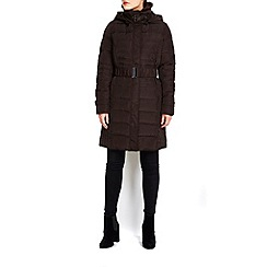Wallis - Chocolate buckle faux fur trim padded coat