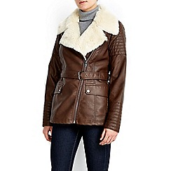Wallis - Chocolate fur lined fly jacket