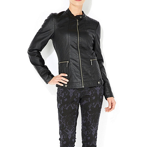 Wallis - Black zip front biker jacket