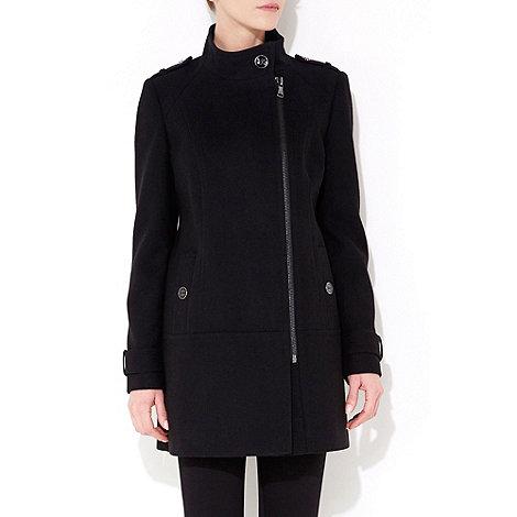 Wallis - Black funnel neck coat