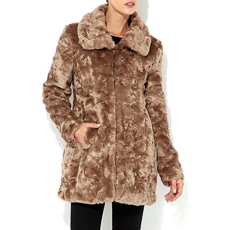 Wallis - Mocha faux fur collar jacket