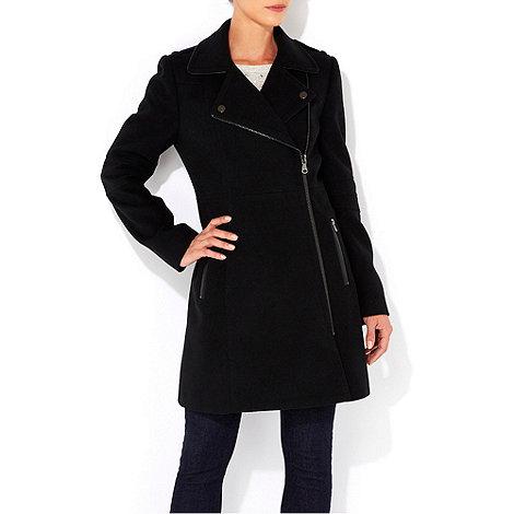 Wallis - Black asymmetric zip coat