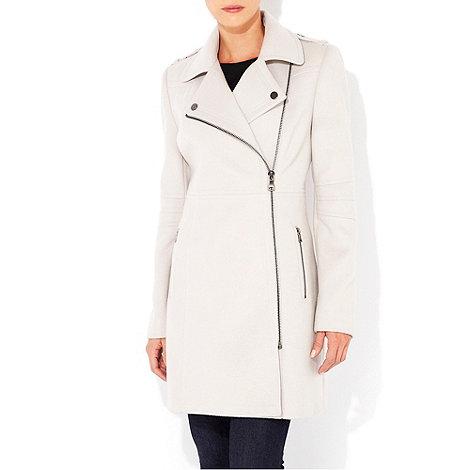 Wallis - Stone asymmetric zip coat