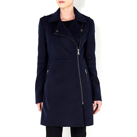 Wallis - Navy blue asymmetric zip coat