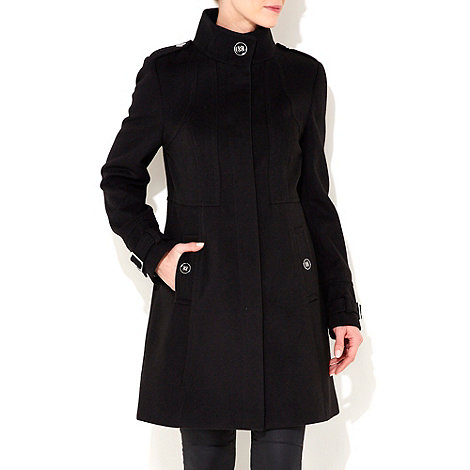 Wallis - Black seam funnel coat