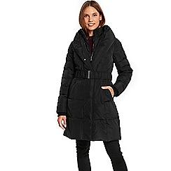 Wallis - Black cosy collar padded coat