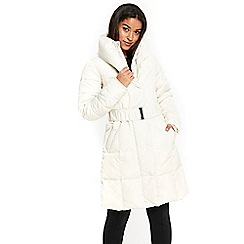 Wallis - Cream cosy collar padded coat