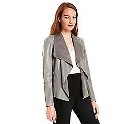 Wallis - Grey faux leather waterfall jacket