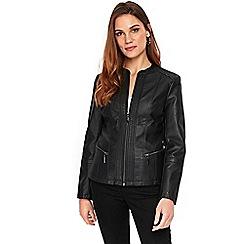 Wallis - Black faux leather stitch biker jacket
