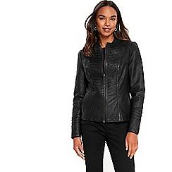 Wallis - Black panel collarless biker jacket