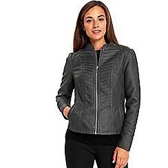 Wallis - Grey panel collarless biker jacket