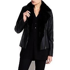 Wallis - Black faux fur lined biker jacket