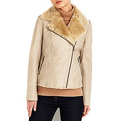 Wallis - Stone fur lined biker jacket