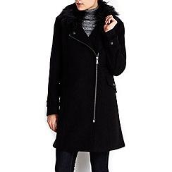 Wallis - Black faux wool fur biker jacket