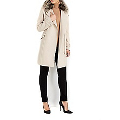 Wallis - Stone faux wool fur biker jacket