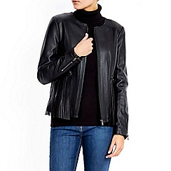 Wallis - Black fringe pu jacket