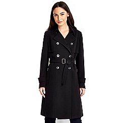 Wallis - Black gold trim trench coat