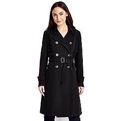 Wallis - Black gold trim trench coat