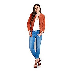 Wallis - Rust fringe suede jacket