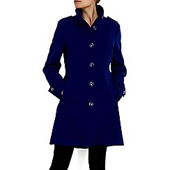 Wallis - Cobalt blue faux wool funnel coat