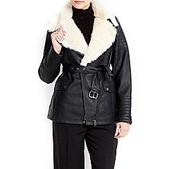 Wallis - Black fur fly jacket