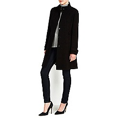 Wallis - Black double crepe funnel coat