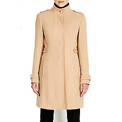 Wallis - Camel double crepe funnel coat