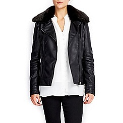 Wallis - Black fur collar biker jacket