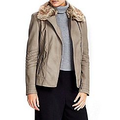 Wallis - Stone fur collar biker jacket