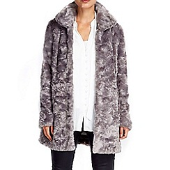 Wallis - Grey funnel midi faux fur coat