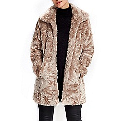 Wallis - Mink funnel midi faux fur coat