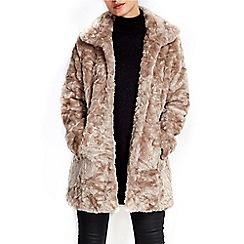 Wallis - Mink funnel midi faux fur coat